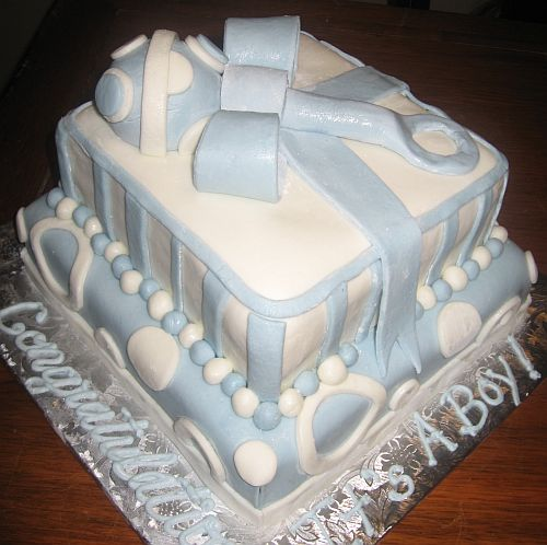 blue baby boy baby shower cake