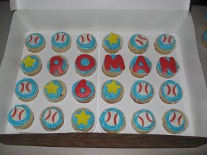 School Birthday Baseball Cupcakes