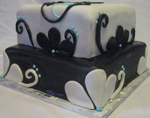 Light Blue Black and White Cake