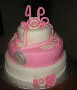 Sweet 16 Birthday Cake Pink and White