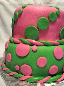 Pink and Green Polka Dot Birthday Cake