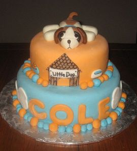 Orange and Blue Fondant Cake York PA