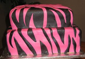 Pink and Black Two Tier Cake