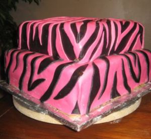 Pink and Black Zebra Striped Birthday Cake