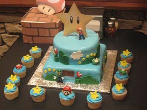 Super Mario Bros Birthday Cake for Party