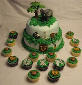 Jungle 1st Birthday Cake