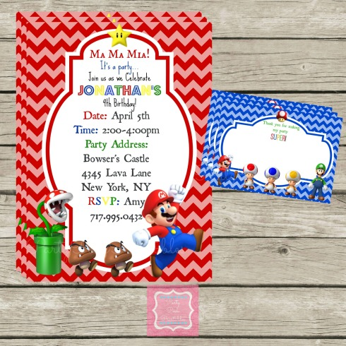 Super Mario Bros Birthday Party Invite Set - Party Posh Printables