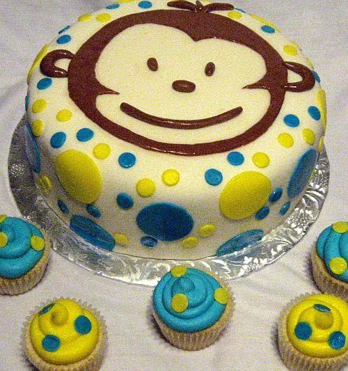 Mod Monkey 1st Birthday Cake and Cupcakes Bear Heart Baking Company