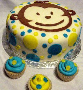 """""""Mod Monkey"""" 1st Birthday Cake"""