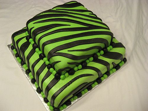 Neon Green and Black Zebra Striped Two Tier Cake for Bridal Shower!