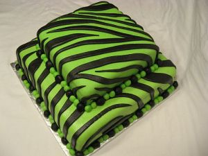 Neon Green and Black Striped Zebra Cake