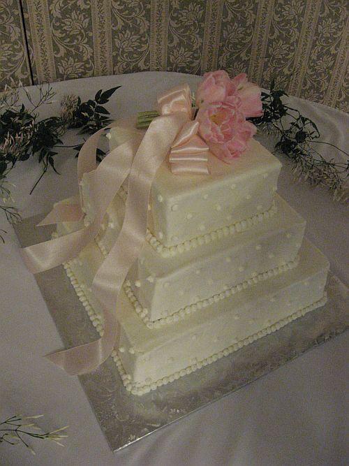 Tulip Wedding Cakes 3 Tier White Square