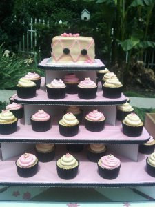 Pink, Champagne, and Black Wedding Cupcakes tiered!