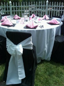 Pink and Black Wedding Pictures Bow on back of chair