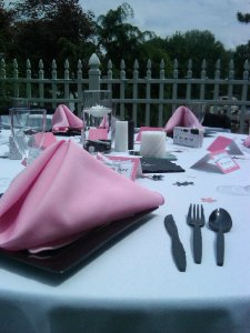 Pink and Black Outdoor Wedding Place Settings