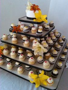 Lillies on a Wedding Cupcake Tier