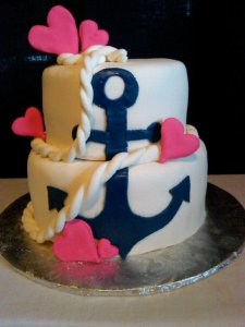 Navy Anchor and Pink Hearts Bridal Shower Cake