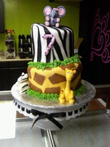Topsy Turvy Safari Birthday Cake Picture