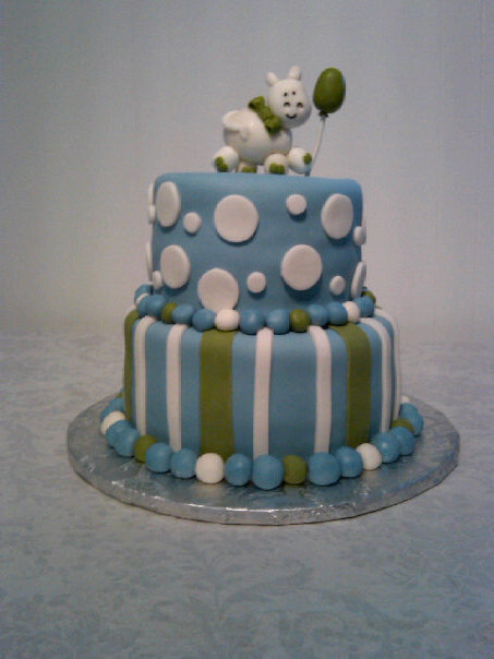 Baby Shower Cakes Baby Boy Theme Blue Brown Green And Yellow