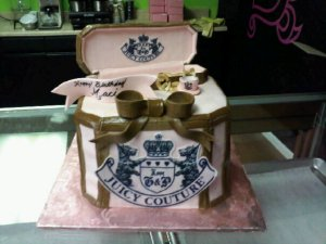 Juicy Couture Birthday Cake with Tea Cup Charm Cupcakes