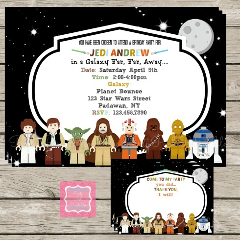 Lego Star Wars Party Invites and Thank You cards set
