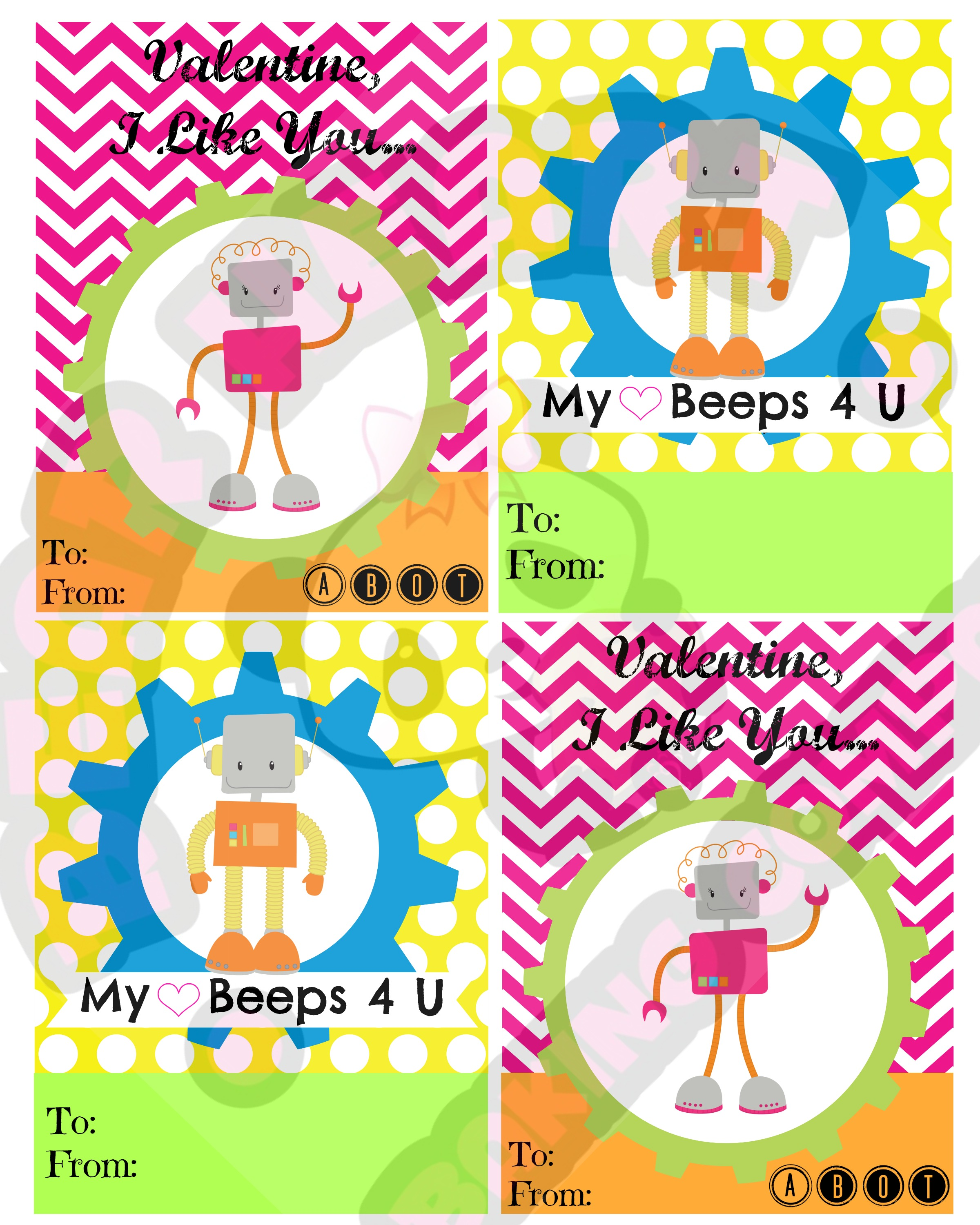Robot Valentines Day Cards Printable – Mario Valentines Cards